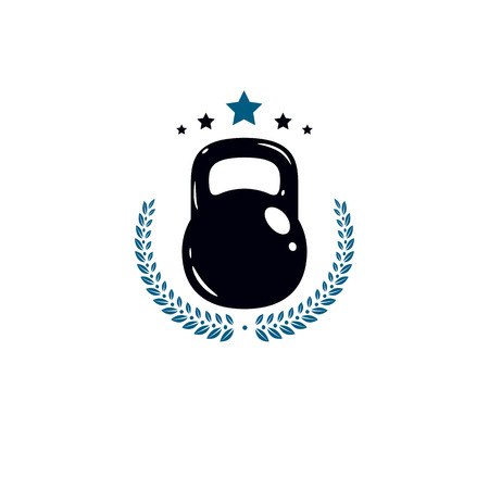 Gym and fitness logo template, vintage style vector emblem.