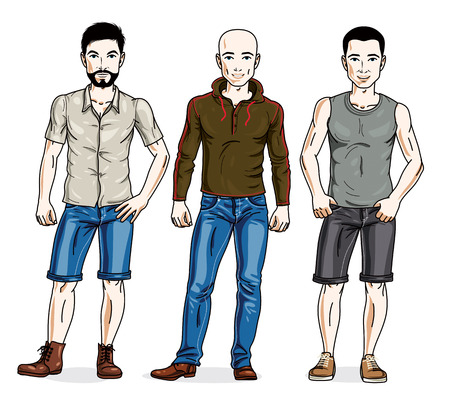 Happy men group standing wearing casual clothes. Vector people illustrations set. Lifestyle theme male characters. Illustration