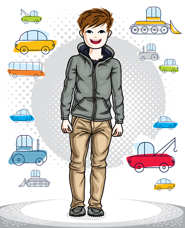 guy standing: Beautiful happy young teenager boy posing in stylish casual clothes. Vector pretty nice human illustration. Childhood lifestyle clip art. Illustration
