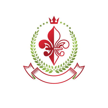 Lily Flower Royal emblem. Heraldic Coat of Arms isolated vector illustration created with decorative ribbon and imperial crown. Ecology and environment conservation business logo.