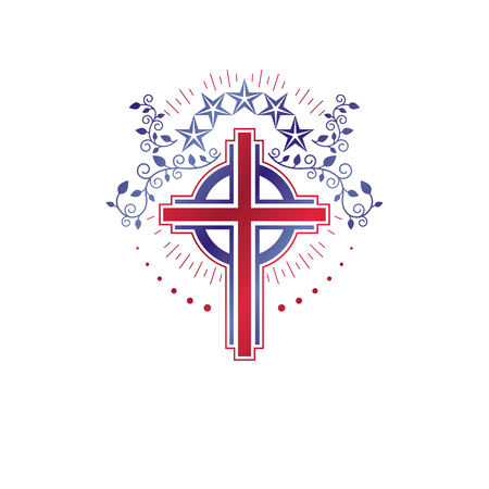 Cross Religious vintage emblem created using pentagonal star and floral ornament, Christian crucifixion. Heraldic Coat of Arms, Glory of God vector logo. Illustration