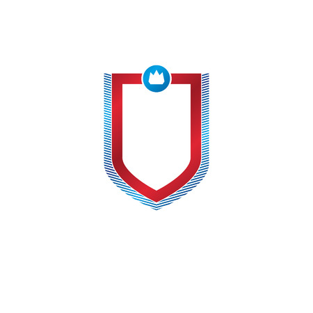 old fashioned: Blank vintage emblem with copy space, vector heraldic design, protection shield. Illustration