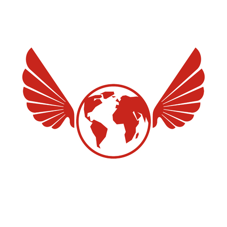 Vector Earth planet winged illustration. Power of global information.