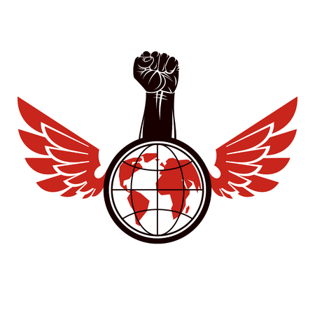Vector illustration composed with bird wings, raised clenched fist and Earth globe. Revolution leader, nonconformist concept.