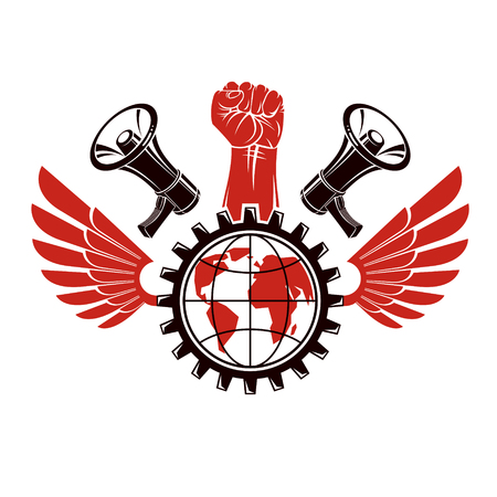 Emblem composed with a clenched fist