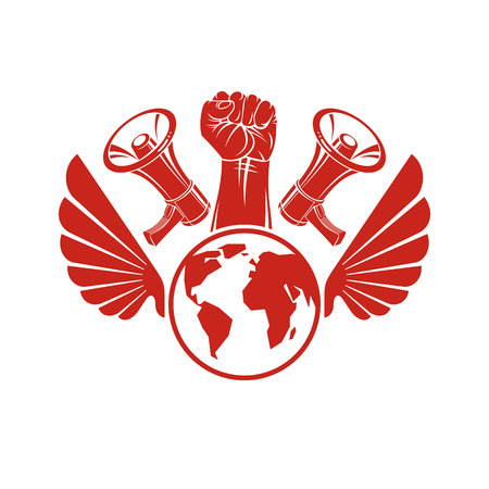 Decorative vector emblem composed with muscular raised clenched fist holding globe, liberty wings and megaphones. Politics and authority as the components of propaganda.