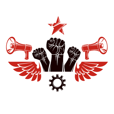Vector leaflet created using clenched fists raised up, megaphone equipment and engineering cog wheel element. Dictatorship and manipulation theme, totalitarianism as the evil power.