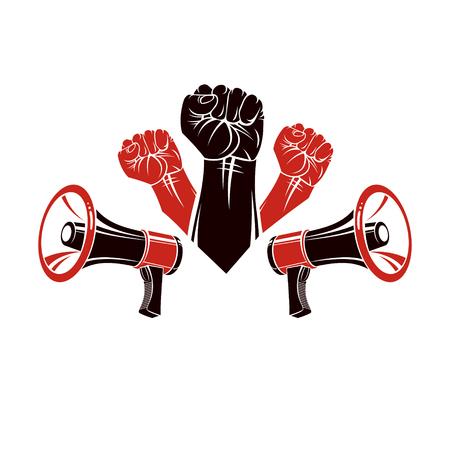 Cartel de publicidad de vector creado usando los puños cerrados levantados y equipos de loudhailers. La propaganda como medio de manipulación y control.