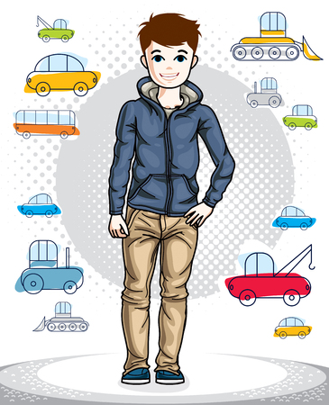 Beautiful happy young teenager boy posing wearing fashionable casual clothes. Vector human illustration. Childhood lifestyle clip art.