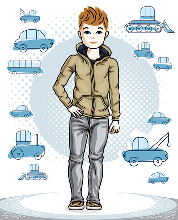 Cute little teen boy standing wearing fashionable casual clothes.