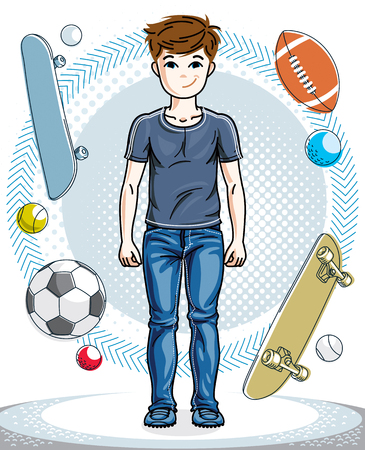 Cute happy young teen boy posing wearing fashionable casual clothes. Vector human illustration. Fashion theme clipart. Illustration