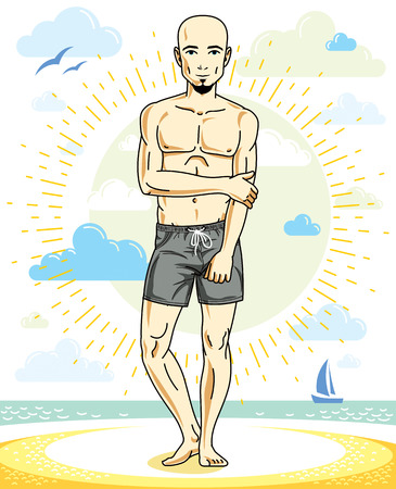 Handsome bald adult man with stylish beard standing on tropical beach in bright shorts. Vector nice and sporty man illustration. Summertime theme clipart. 向量圖像