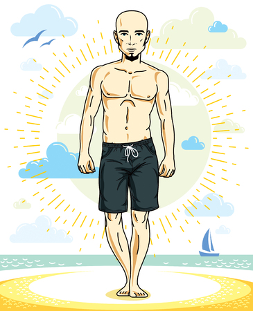 guy standing: Handsome bald adult man with stylish beard standing on tropical beach in bright shorts. Vector nice and sporty man illustration. Summertime theme clipart. Illustration
