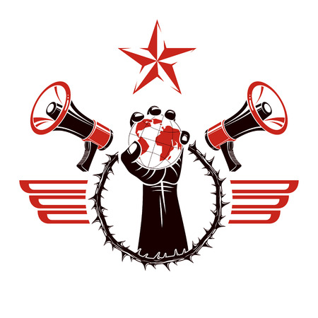 Decorative vector emblem composed with muscular raised clenched fist holding globe, crown of thorns and megaphones. Global authority as the means of political and social influence.