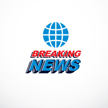 Breaking news concept, vector globe illustration. Journalism concept. Illustration