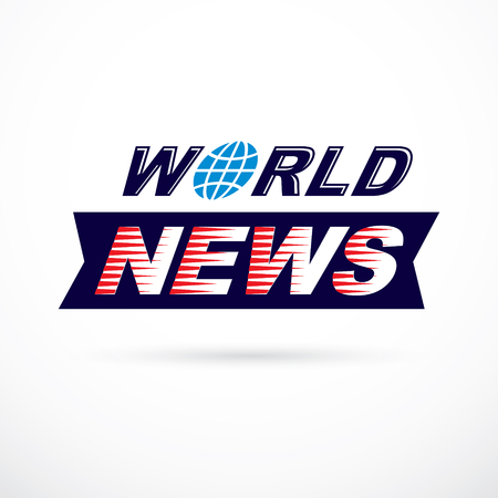 World news inscription, vector illustration. News and facts reporting . Imagens - 85407318