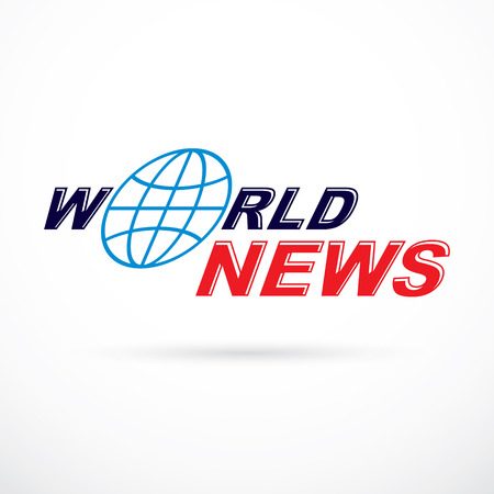 World news inscription, vector illustration. News and facts reporting .
