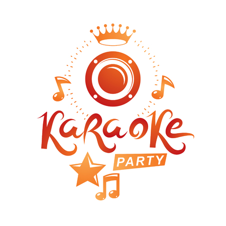 Musical karaoke performance flyer template created with musical notes, karaoke party inscription. Illustration