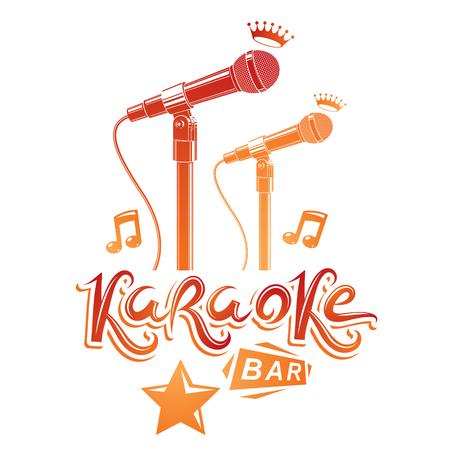 Karaokebar belettering samengesteld met podiummicrofoon en muzieknoten, vectorillustratie. Karaokebar reclamefolder.