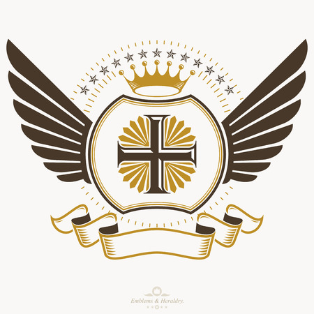 armory: Old style heraldry, heraldic emblem, vector illustration.