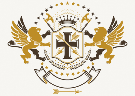 Heraldic Coat of Arms, vintage vector emblem created with mythic gryphon, religious cross, imperial crown and hatchets