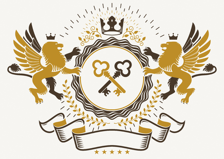 Heraldic sign created with vector elements, heraldry insignia composed with mythology gryphon, crossed keys and monarch crown. Illustration