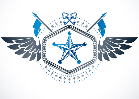 Retro winged vintage Insignia made with vector design elements like ancient keys and pentagonal stars.