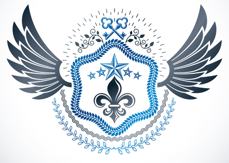 fleurdelis: Retro winged vintage Insignia made with vector design elements and composed with lily flower royal symbol and old keys, heraldic vector. Illustration
