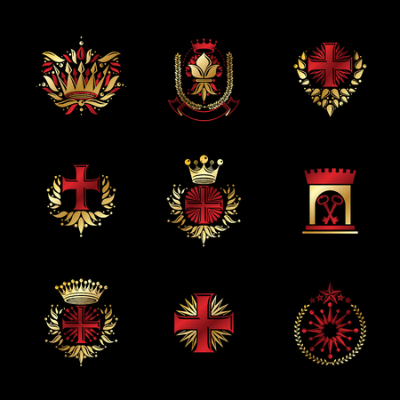 Ancient Crosses Crown Stars and flowers emblems set. Heraldic Coat of Arms, vintage vector logos collection.