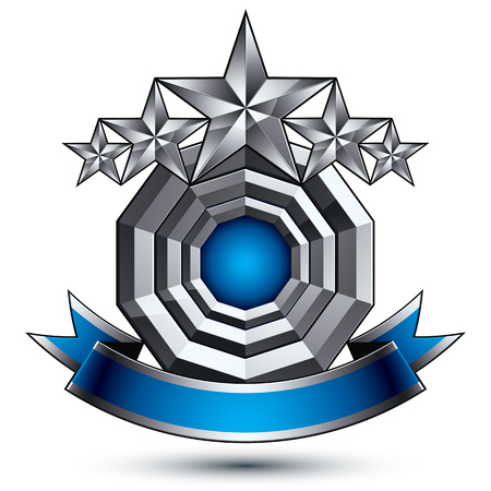 Glamorous vector template with pentagonal silver stars symbol, best for use in web and graphic design. Conceptual heraldic icon with wonderful smooth strip, clear eps8 vector.