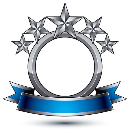 기하학적 벡터 흰색 배경으로 고립 된 매력적인 실버 요소 3d 세련 된 5 개 파란색 물결 모양의 리본 blazon 모양. 5 별 브랜드 광택 기호.