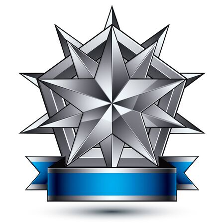 A Vector classic emblem isolated on white background. Aristocratic badge with silver star placed on a shield. Blue and gray ribbon clear EPS 8. Illustration