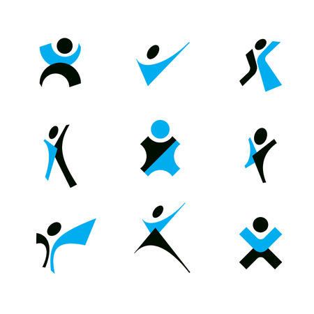 Vector illustration of excited abstract man with arms reaching up. Corporate development logo.