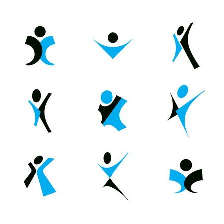 A Vector illustration of joyful abstract individual with arms reaching up. Happiness metaphor logo. Illustration