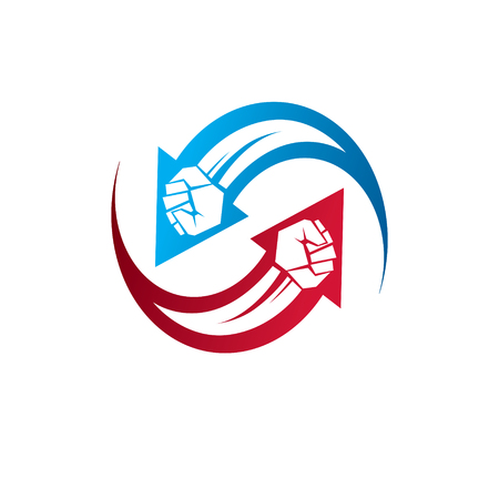 A Vector illustration of clenched fist in the shape of arrow. Power and authority conceptual logo.
