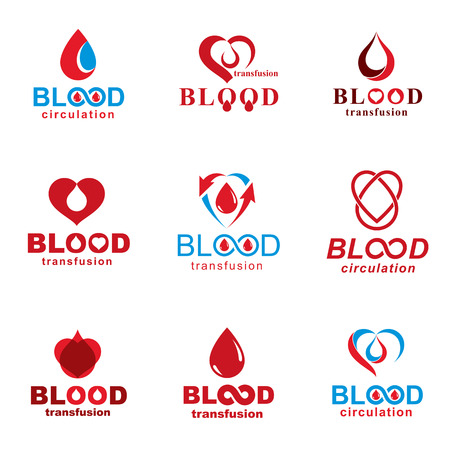 A Vector illustrations created on blood donation theme, blood transfusion and circulation metaphor. Rehabilitation conceptual vector logotypes for use in pharmacology. Иллюстрация