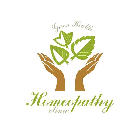 Caring hands holding green spring leaves. Medical rehabilitation abstract logo. Illustration