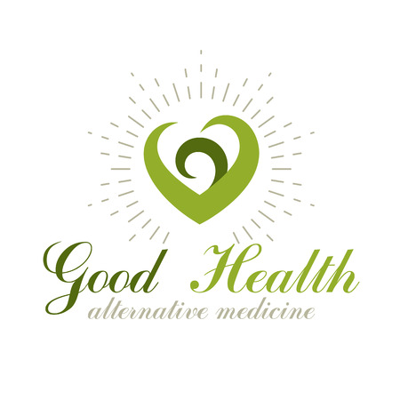 Vector heart shape composed with green leaves. Alternative medicine conceptual symbol can be used as phytotherapy logo in healthcare business. Illustration