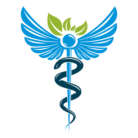Caduceus symbol composed with poisonous snakes and bird wings, healthcare conceptual vector illustration. Alternative medicine theme.