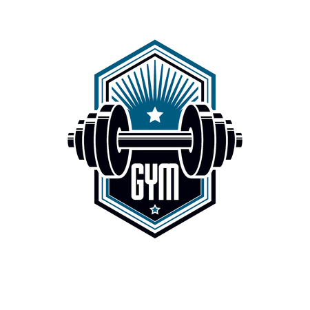 Logotype for heavyweight gym or fitness sport gymnasium, vintage style vector emblem. With barbell. Illustration