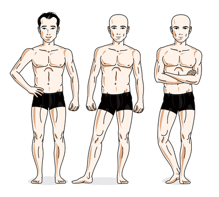 Handsome men standing in black underwear. Vector set of beautiful people illustrations. Illustration