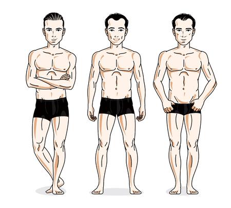 Handsome men posing in black underwear. Vector people illustrations set. Illustration