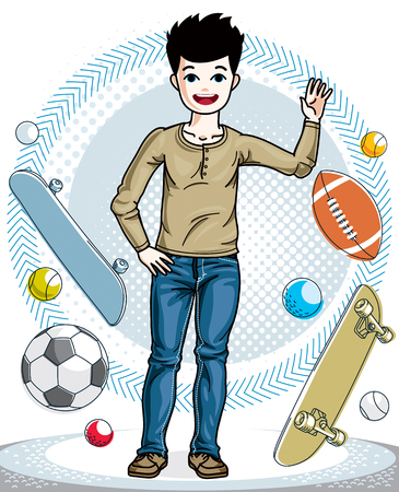 Young teen boy cute nice standing in stylish casual clothes. Vector attractive kid illustration. Fashion theme clipart.