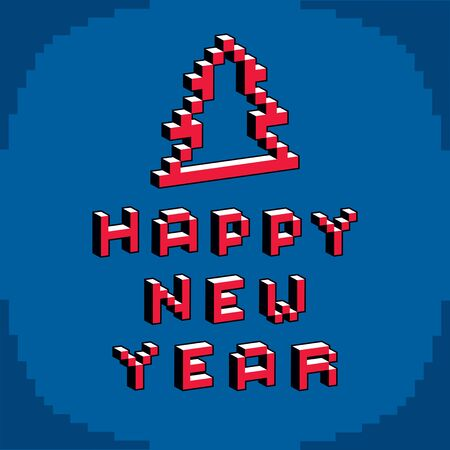 Happy New Year phrase created in digital technology style, vector 8 bit Christmas tree. Celebration theme pixel art inscription.