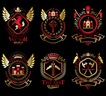 citadel: Heraldic Coat of Arms created with vintage vector elements, animals, towers, crowns and stars. Classy symbolic emblems collection, vector set.