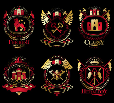 Set of old style heraldry vector emblems, vintage illustrations decorated with monarch accessories, towers, pentagonal stars, weapon and armory. Coat of Arms collection. Illustration