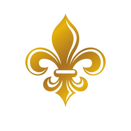 Wappen des heraldischen Wappens dekoratives mit Lilienblume, goldene Qualität. Isolierte Vektor-Illustration. Standard-Bild - 85446411