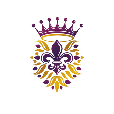 fleur of lis: Retro golden vintage Insignia created with lily flower and imperial crown. Vector product quality idea design element, Fleur-De-Lis.
