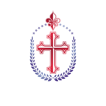 Cross of Christianity graphic emblem. Heraldic vector design element. Retro style label, religious insignia decorated with laurel wreath and Lily flower. Wealth and monarchy idea.