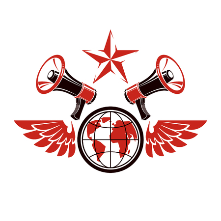 Simple vector emblem created using Earth planet illustration composed with wings and loudspeakers equipment. Propaganda as one of the methods of global psychological warfare. Illustration
